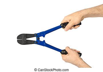 mano, con, herramienta, perno, cortadores