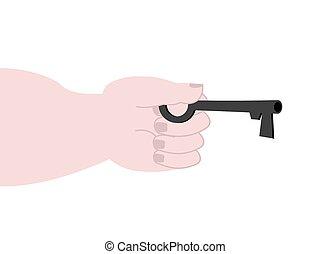 mano, con, llave, isolated., vector, ilustración