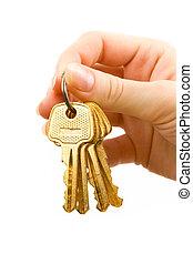 mano, con, llaves, aislado, blanco