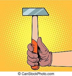 mano, con, martello