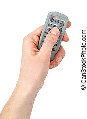 mano, con, piccolo, infra-red, telecomando, unità