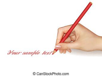 mano, con, pluma, escritura, en, paper.