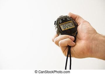 mano, con, stopwatch.