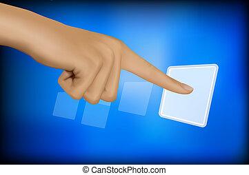 mano, conmovedor, un, button.