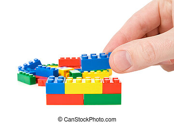 mano, construya, un, color, plástico, ladrillos