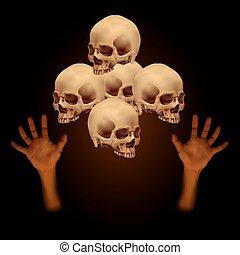 mano, cráneo, pila, humano