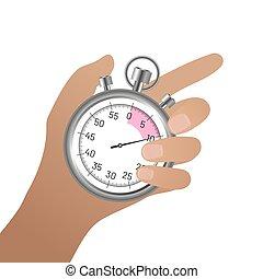 mano, cronómetro, pulgar, cromo, hembra, dedo, tenencia