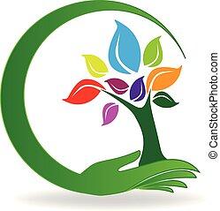 mano, cuidado, un, árbol, símbolo, logotipo, vector