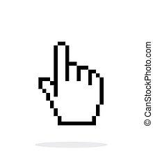 mano, cursor, fondo., blanco, pixel, icono