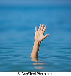 mano, de, ahogo, hombre, en, mar, preguntar, para, ayuda