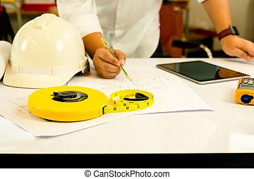 mano, de, arquitecto, trabajo encendido, cianotipo, con,...