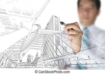 mano, de, hombre de negocios, empate, edificio, y, cityscape