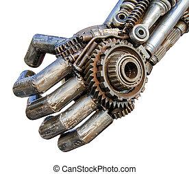 mano, de, metálico, cyber, o, robot, hecho, de, mecánico,...