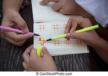 mano, de, niños jugar, con, color
