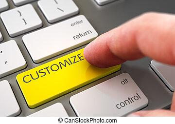 mano, dedo, prensa, personalice, button., 3d.