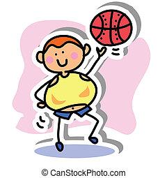 mano, deporte, dibujo, icono, caricatura