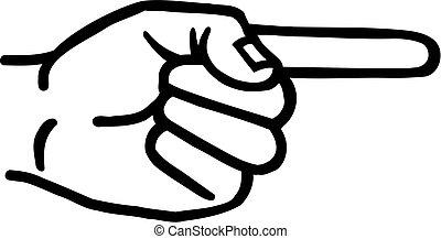 mano, derecho, dedo, índice