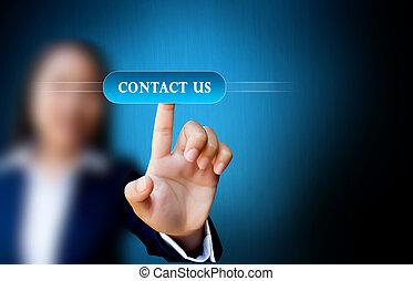 mano, di, donne affari, spingere bottone, su, uno, schermo tocco, interfaccia, su, contattarci, bottone