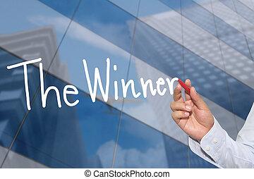 mano, di, uno, uomo affari, mano, disegnato, uno, parola, di, il, winner.