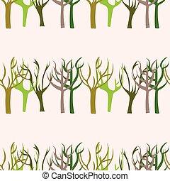 mano, dibujado, árboles, seamless, patrón