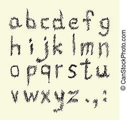mano, dibujado, alfabeto