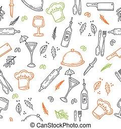 mano, dibujado, alimento, seamless, pattern., bosquejo, cocina, elementos, para, su, diseño