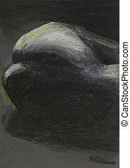 mano, dibujado, artístico, desnudo femenino