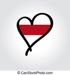 mano, dibujado, bandera, vector, illustration., en forma de corazón, logo., belarusian