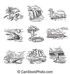 mano, dibujado, borrador, garabato, bosquejo, paisaje de la naturaleza, ilustración, con, sol, colinas, mar, bosque, cascada