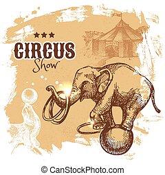 mano, dibujado, bosquejo, circo, y, diversión, vector,...
