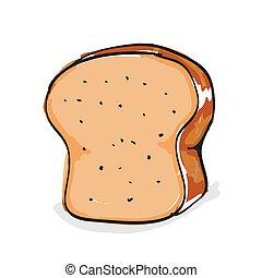 mano, dibujado, bread