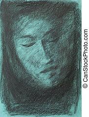 mano, dibujado, carbón, retrato