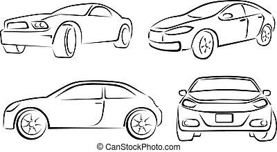 mano, dibujado, coche, vehículo, garabato