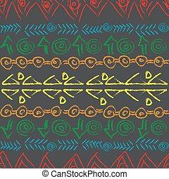 mano, dibujado, colorido, patrón, con, étnico, motivos
