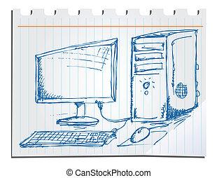 mano, dibujado, computer.