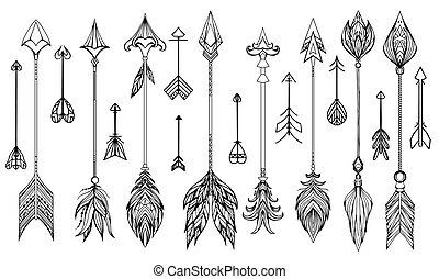 mano, dibujado, conjunto, arrows., boho
