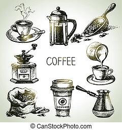 mano, dibujado, conjunto de café