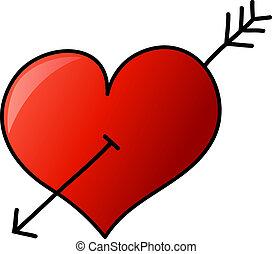 mano, dibujado, corazón con la flecha
