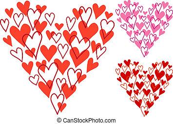 mano, dibujado, corazón, vector