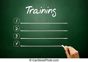 mano, dibujado, entrenamiento, blanco, lista, concepto, en, pizarra