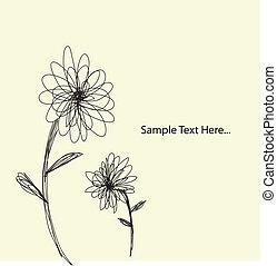 mano, dibujado, flor, plano de fondo