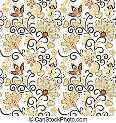 mano, dibujado, flor, seamless, pattern., colorido, seamless, patrón, con, pargeting, grunge, caprichoso, flores, y, paisley., beige, fondo., vector
