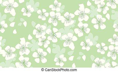 mano, dibujado, floral, seamless, pattern.