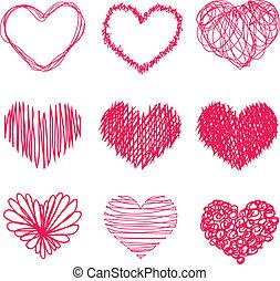 mano, dibujado, forma corazón