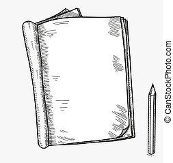 mano, dibujado, garabato, bosquejo, abierto, cuaderno,...