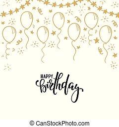 mano, dibujado, garabato, oro, balloon., mano, dibujado, caligrafía, feliz cumpleaños, lettering., diseño, feriado, tarjeta de felicitación, y, invitación, de, boda, feliz, madre, día, cumpleaños, valentine, s, día, y, fiesta de nacimiento, vacaciones