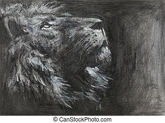 mano, dibujado, león, cabeza