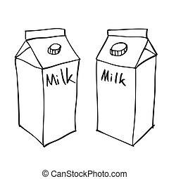 mano, dibujado, leche, caja