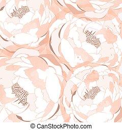 mano, dibujado, lino, peonía, flor, vector, ilustración, para, diseño, tela, bandera, cartel, cubierta