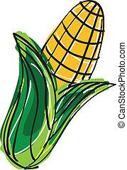 mano, dibujado, maíz